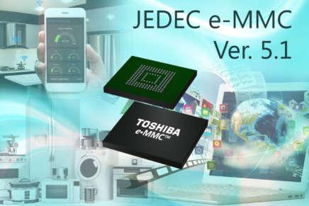 Toshiba: nuovi prodotti di memoria Flash conformi alla versione 5.1 dello standard JEDEC e-MMC