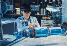 Industrial Factory Chief Engineer Wearing AR Headset (indossabili)