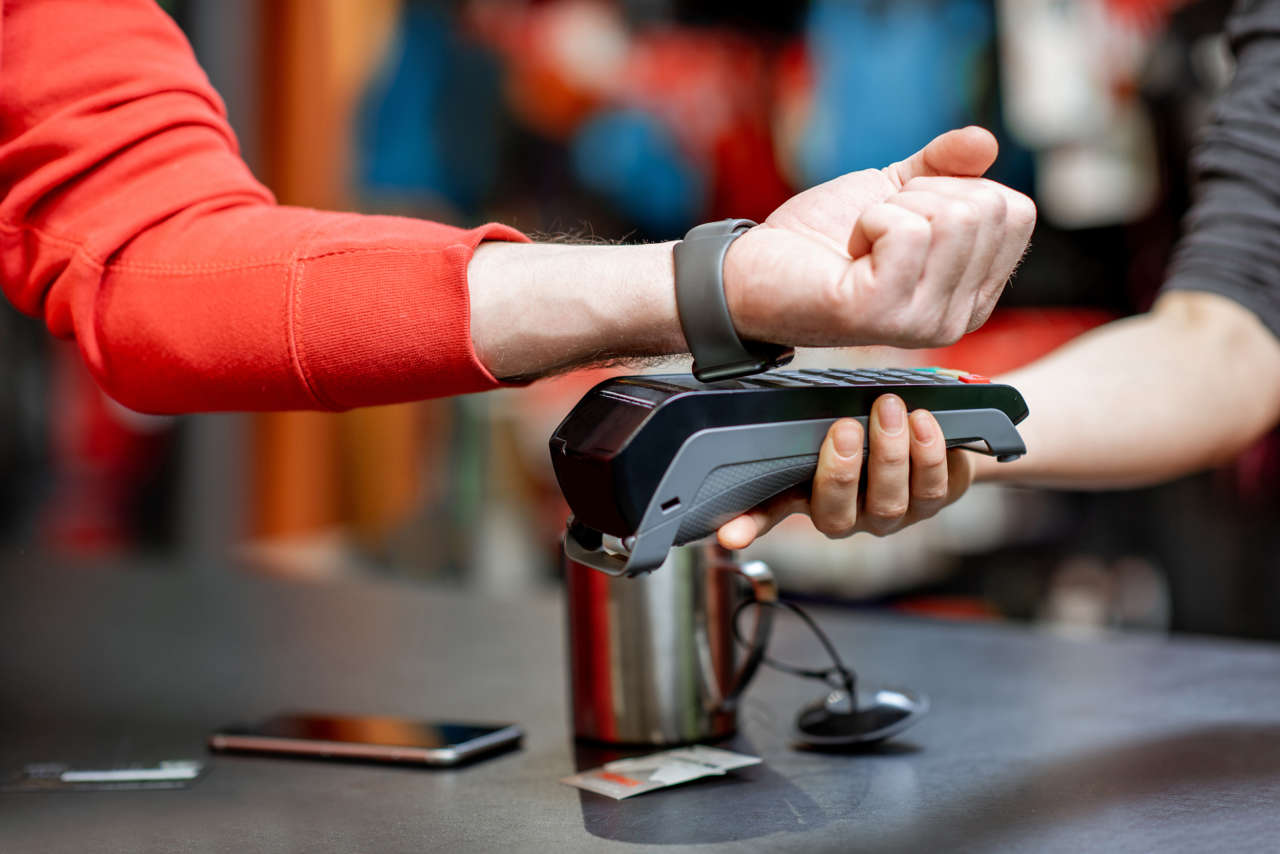 Using handwatch on the cash register