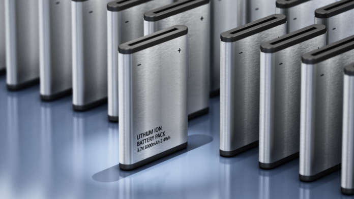 Lithium Ion battery stands out among others. 3D illustration.